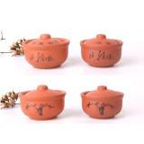 紫砂  饭碗隔水蒸碗陶瓷蒸蛋盅炖盅汤盅复古蒸饭碗家用茶碗带盖