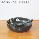 黑色手绘拉面碗陶瓷大号泡面碗家用吃面碗韩式饭碗